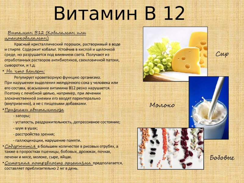 Витамин В 12 - памятка