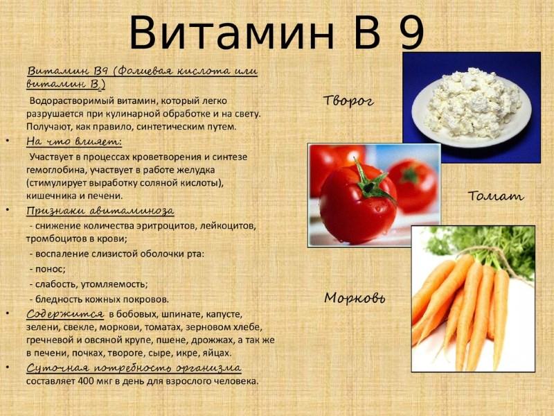 Витамин В 9 - памятка