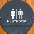 An old marine unisex restroom sign made of seaman's brass is attached to a teak wood door.